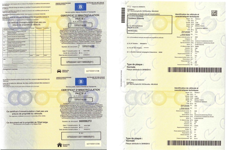 Format du certificat d'immatriculation et des plaques