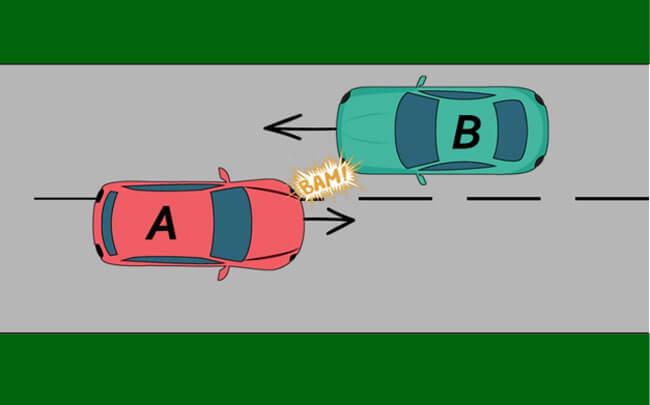 Changement de bande de circulation entre véhicules roulant en sens inverse
