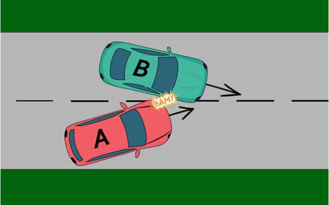 Accident avec double changement de bande