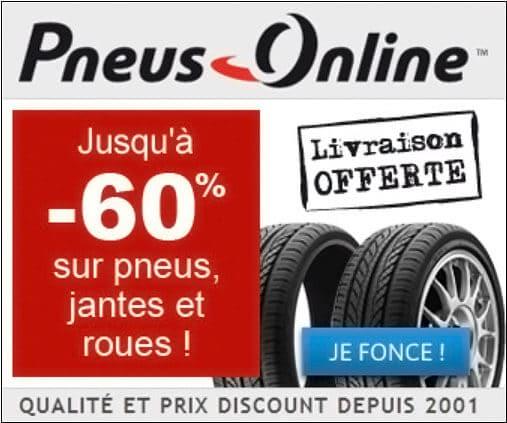 Promotions jusqu'à 60% sur les pneus en ligne