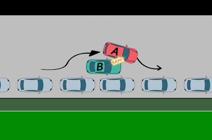 Accident stationnement double file